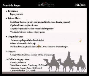 Ejemplo de un Menú elaborado para el Día de Reyes